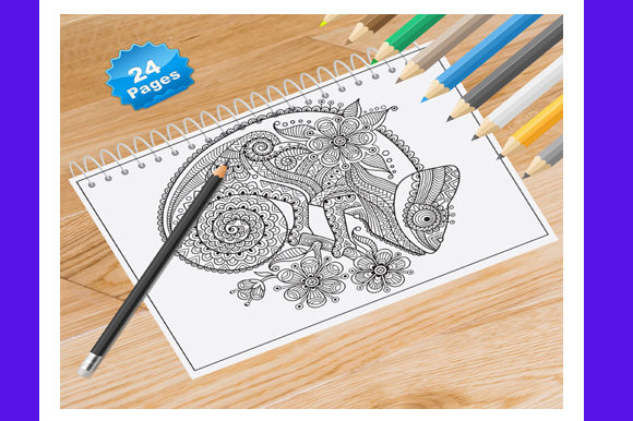 Animal Coloring Book for Adults Graphic Coloring Pages & Books Adults By Coloring World - Image 1