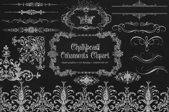 Print on Demand: Chalkboard Ornaments Clipart Graphic Illustrations By Digital Curio - Image 1