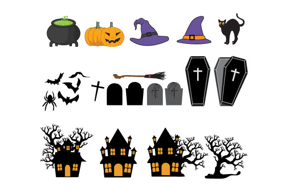 Print on Demand: Collection of Various Halloween Ornament Graphic Illustrations By curutdesign