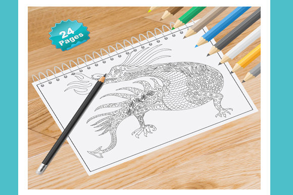 Dragon Coloring Book for Adults Graphic Coloring Pages & Books Adults By Coloring World