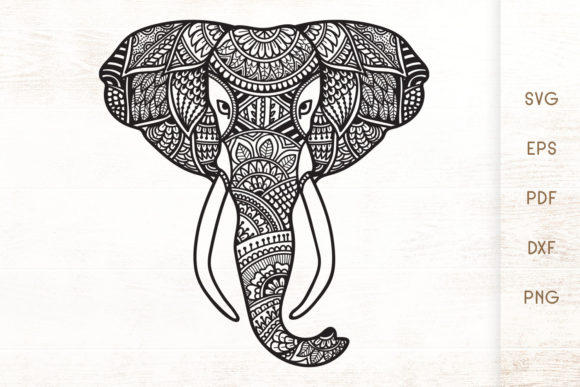 Print on Demand: Elephant Head Zentangle - Elephant SVG Graphic Illustrations By Dasagani