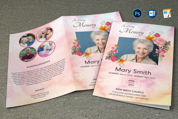 Print on Demand: Floral Funeral Program Template Graphic Print Templates By sistecbd