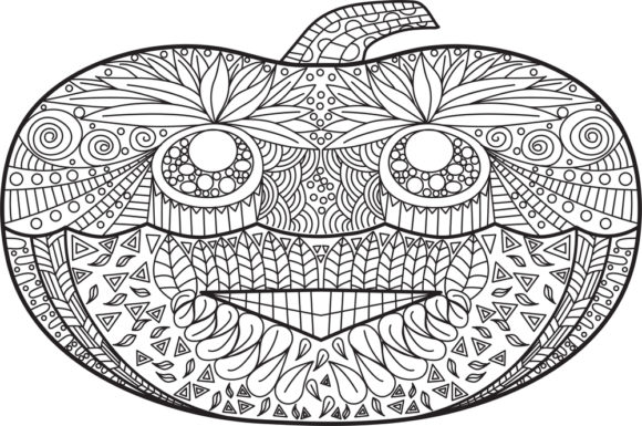 Print on Demand: Halloween Coloring Page Vector Graphic Coloring Pages & Books Adults By ajubayer555 - Image 1