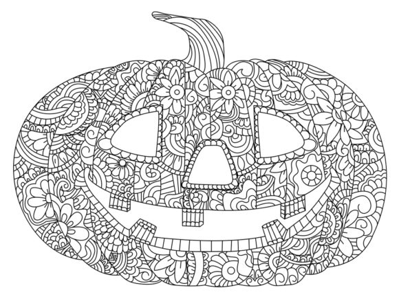 Print on Demand: Halloween Coloring Page Vector Graphic Coloring Pages & Books Adults By ajubayer555 - Image 2