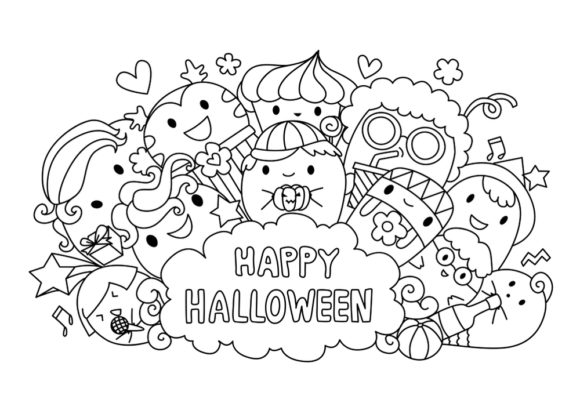 Print on Demand: Halloween Coloring Page Vector Graphic Coloring Pages & Books Adults By ajubayer555 - Image 3