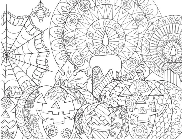 Print on Demand: Halloween Coloring Page Vector Graphic Coloring Pages & Books Adults By ajubayer555 - Image 4