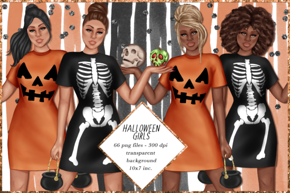 Print on Demand: Halloween Girls Clipart Set Graphic Illustrations By TheGGShop