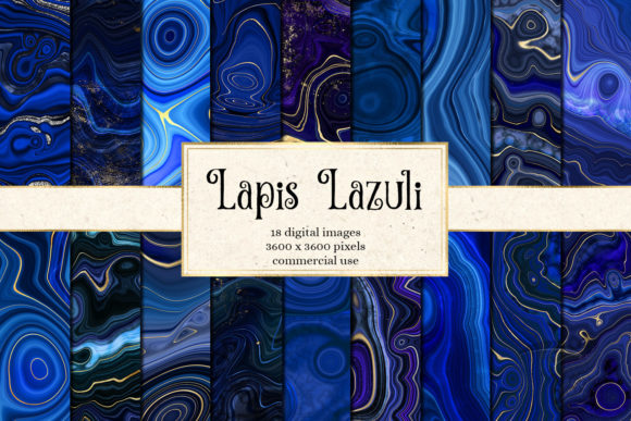 Print on Demand: Lapis Lazuli Digital Paper Grafik Texturen von Digital Curio