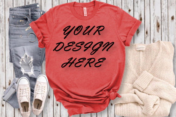 Mockup Red T-shirt, Red T-shirt Flat Lay Graphic Product Mockups By ArtStudio