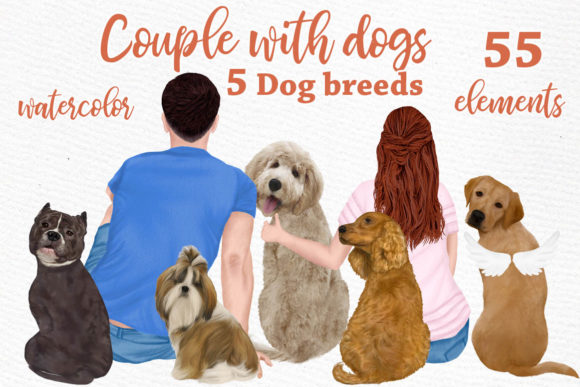 People with Dogs,dogs Clipart,Dog Breeds Graphic Illustrations By LeCoqDesign