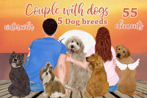People with Dogs,dogs Clipart,Dog Breeds Graphic Illustrations By LeCoqDesign - Image 2
