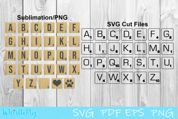 Scrabble Tiles Set Graphic By Whistlepig Designs Creative Fabrica