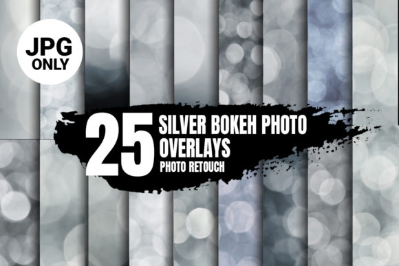 Print on Demand: White & Silver Bokeh Photo Overlays, JPG Graphic Abstract By 99 Siam Vector
