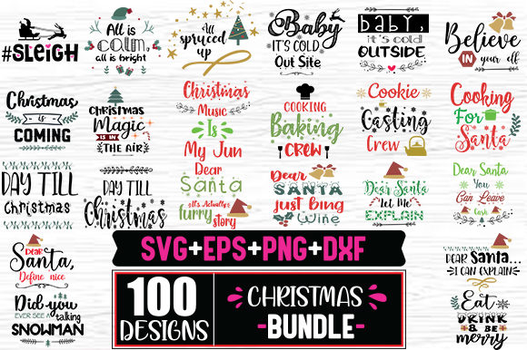 Print on Demand: 100 Christmas Design Bundle Graphic Print Templates By svg.in.design