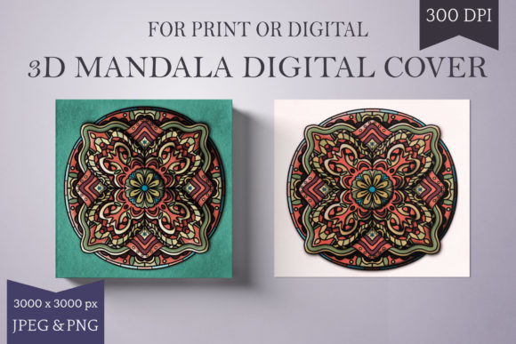 Print on Demand: 3D Colored Mandala - Green and Orange Graphic Backgrounds By Digital Town