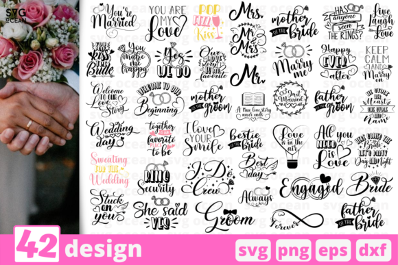42 Designs Wedding for Cricut Graphic Crafts By SvgOcean