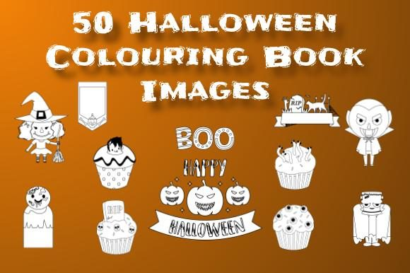 50 Halloween Colouring Book Clip Arts Graphic Coloring Pages & Books By Take It And Teach