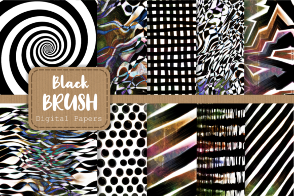 Print on Demand: Abstract Black Brush Background Patterns Graphic Backgrounds By Prawny
