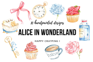 Alice in Wonderland Watercolor Cliparts Graphic Illustrations By Aneta Design