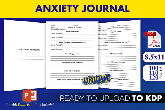 Print on Demand: Anxiety Journal Editable KDP Interior Graphic KDP Interiors By Beast Designer