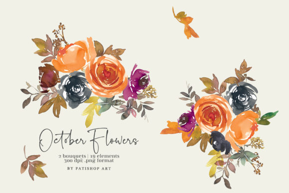 Autumn Watercolor Floral Clipart Set Graphic