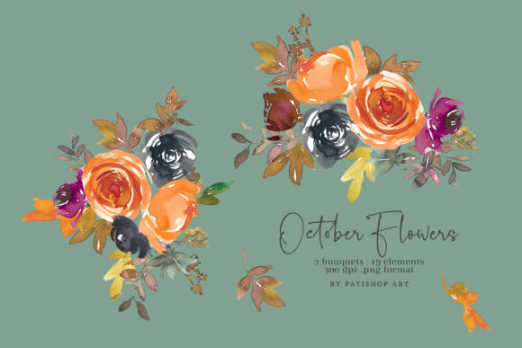Autumn Watercolor Floral Clipart Set Download