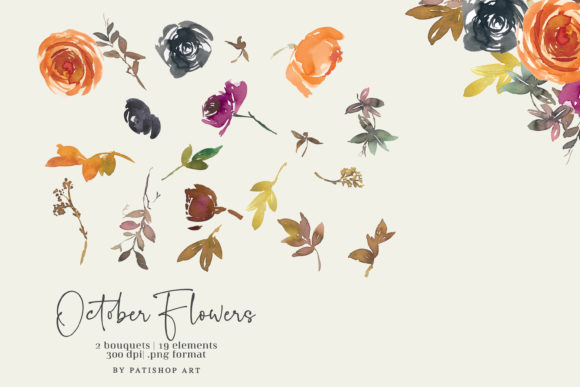 Autumn Watercolor Floral Clipart Set Item