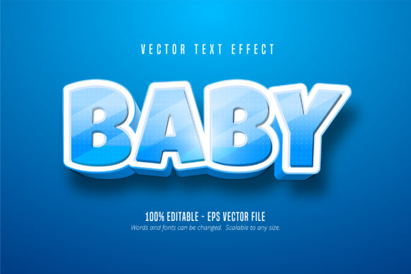 Print on Demand: Baby Text, Cartoon Style Text Effect Graphic Graphic Templates By Mustafa Bekşen