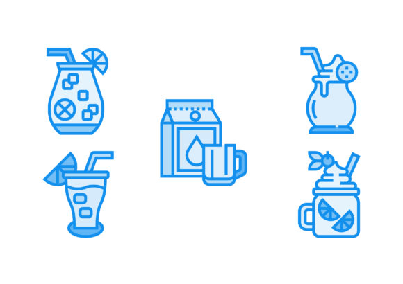 Print on Demand: Beverage Blue Graphic Icons By Pektor
