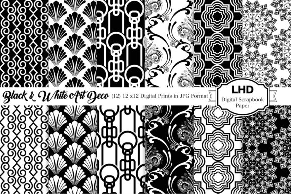 Black & White Art Deco Digital Paper Graphic Patterns By LeskaHamatyDesign
