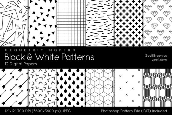 Black and White Digital Papers Geometric Graphic Patterns By ZoollGraphics