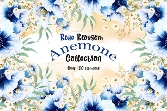 Print on Demand: Blue Blossom Anemone Collection Graphic Illustrations By Andreea Eremia Design