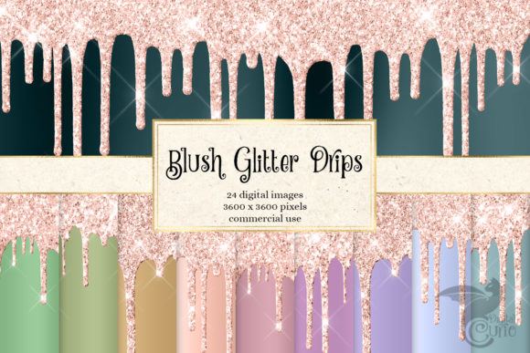 Print on Demand: Blush Pink Glitter Drips Graphic Textures By Digital Curio