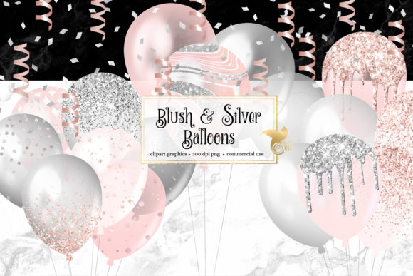 Print on Demand: Blush and Silver Balloons Clipart Graphic Illustrations By Digital Curio