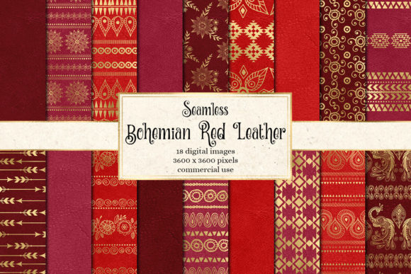 Print on Demand: Bohemian Red Leather Digital Paper Grafik Texturen von Digital Curio
