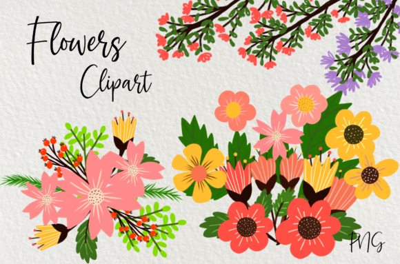 Print on Demand: Bright Flowers Clipart Graphic Illustrations By Suda Digital Art