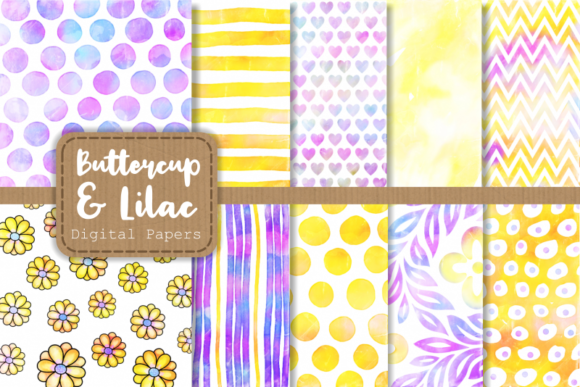 Print on Demand: Buttercup and Lilac Watercolor Patterns Graphic Patterns By Prawny