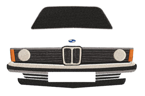 Print on Demand: Car, BMW E21 Minimalistic Transportation Embroidery Design By Embroidery Shelter
