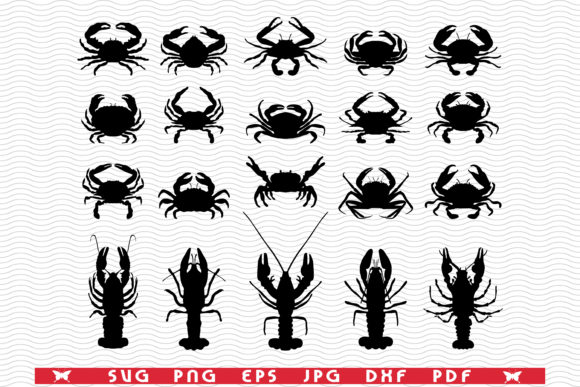 Crawfish Crab, Black Silhouettes Graphic Illustrations By DesignStudioRM