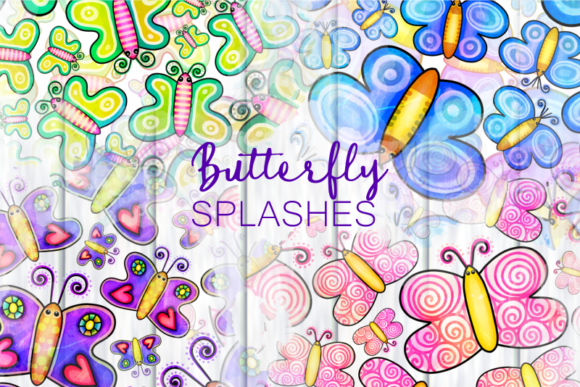 Print on Demand: Cute Cartoon Doodle Butterfly Splashes Graphic Illustrations By Prawny