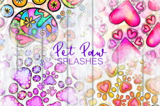 Print on Demand: Cute Cartoon Doodle Pet Paw Splashes Graphic Backgrounds By Prawny