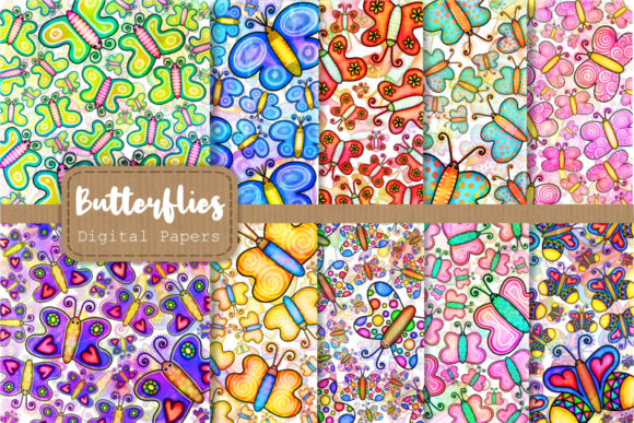 Print on Demand: Cute Doodle Butterfly Papers & Overlays Graphic Backgrounds By Prawny