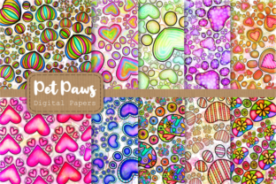 Print on Demand: Cute Doodle Paw Print Papers & Overlays Graphic Backgrounds By Prawny