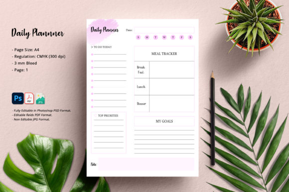 Daily Planner Graphic Print Templates By SmmrDesign