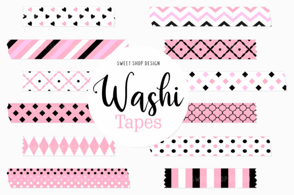 Digital Washi Tape Clipart Black Pink Graphic Illustrations By Sweet Shop Design