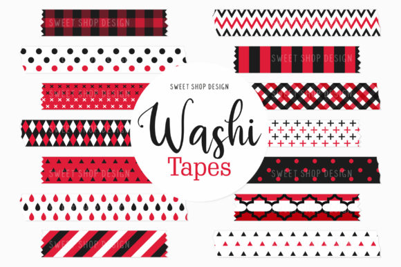Digital Washi Tape Clipart Red & Black Graphic Illustrations By Sweet Shop Design