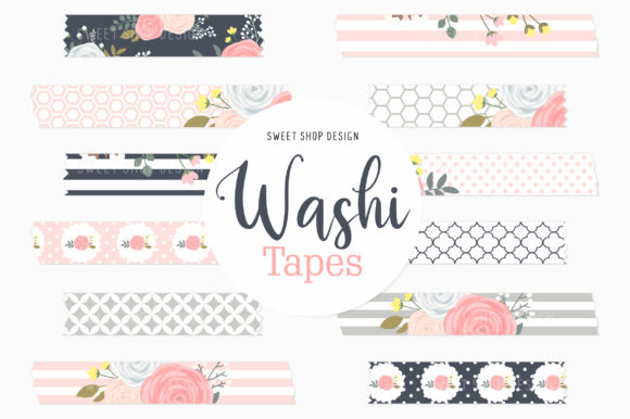 Digital Washi Tape Garden of Roses Graphic Illustrations By Sweet Shop Design