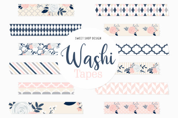 Digital Washi Tape Rhapsody in Pink Graphic Illustrations By Sweet Shop Design