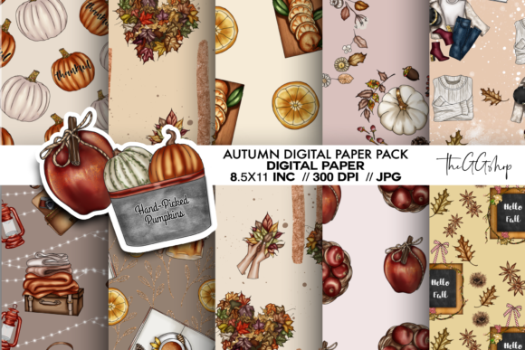 Print on Demand: Fall Digital Paper Pack Graphic Crafts By TheGGShop