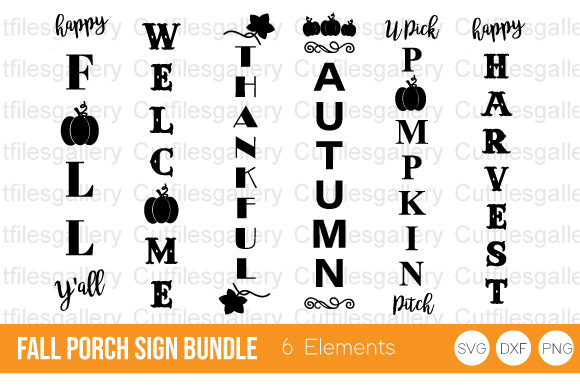 Fall Porch Sign Bundle, Fall SVG Graphic Crafts By cutfilesgallery